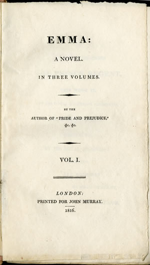 Title page of first edition of Jane Austen's Emma